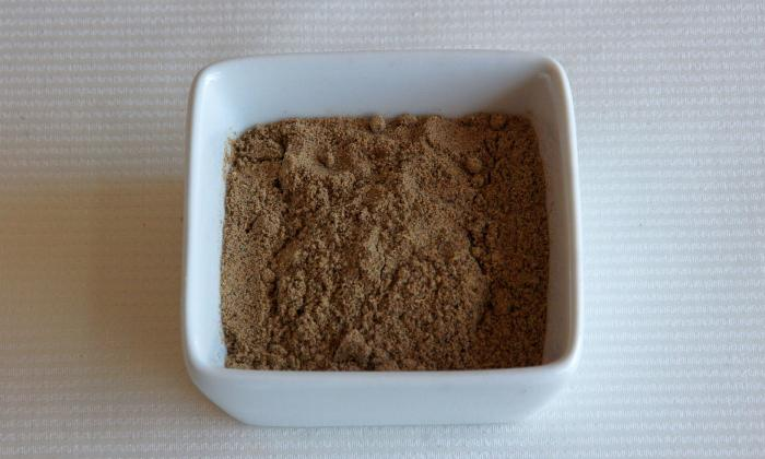 Dish with nutmeg. Ground or grated nutmeg is very aromatic and tastes good in sweet and savory dishes. Nutmeg is primarily used as a cooking spice.