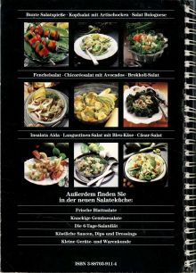 Raw food book on salads by Naturalis Verlag. 1989. Back cover.