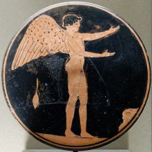 Eros bobbin, Attic red-figure painting, ca 450 BC, The Louvre, Paris. Photo Jastrow.
