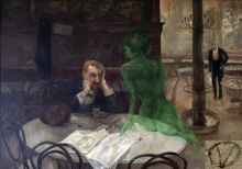 """Absinthe Drinker with the Green Fairy"" by Viktor Oliva (1901). Photo: Fruehling."