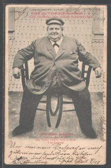 """Fat George"", postcard, 1904. ""Fat"" was used positively then; fat = well-to-do. Wikipedia/Adipositas"