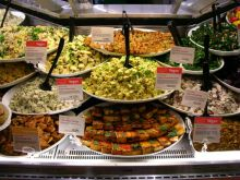 Vegan and vegetarian dishes from the deli. Photo Wikipedia/Vegetarianism/Zeetz Jones.