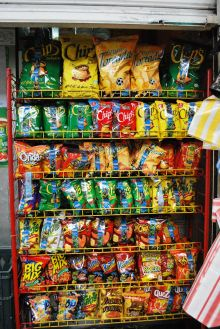 A rack of convenience snack foods. Photo Alejandro Linares Garcia, Mexico.