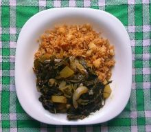 Rice and Chenopodium album leaf curry - as a comparison to western food. Photo Xufanc.